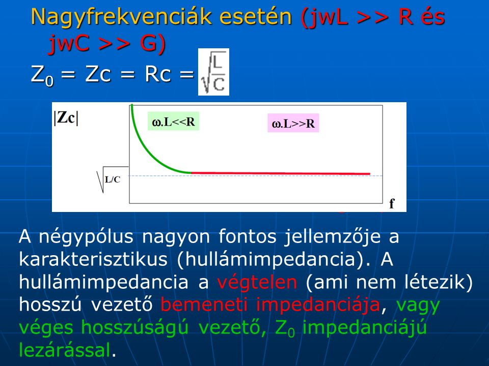 Nagyfrekvenciák esetén (jwL >> R és jwC >> G) Z 0 = Zc = Rc = Voir grafique A négypólus nagyon fontos jellemzője a karakterisztikus (hullámimpedancia).