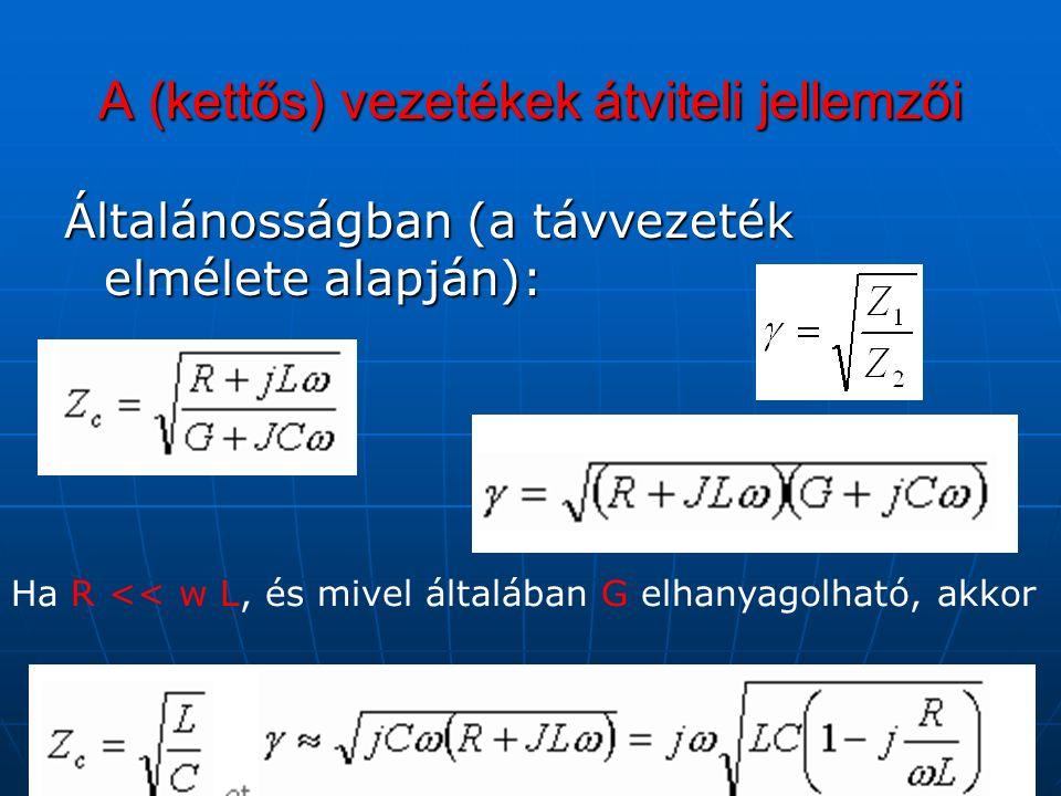 A (kettős) vezetékek átviteli jellemzői Általánosságban (a távvezeték elmélete alapján): Ha R << w L, és mivel általában G elhanyagolható, akkor