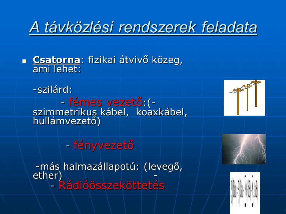 A távközlési rendszerek feladata Csatorna: fizikai átvivő közeg, ami lehet: Csatorna: fizikai átvivő közeg, ami lehet:-szilárd: - fémes vezető :(- szimmetrikus kábel, koaxkábel, hullámvezető) - fémes vezető :(- szimmetrikus kábel, koaxkábel, hullámvezető) - fényvezető - fényvezető -más halmazállapotú: (levegő, ether) - - Rádióösszeköttetés -más halmazállapotú: (levegő, ether) - - Rádióösszeköttetés