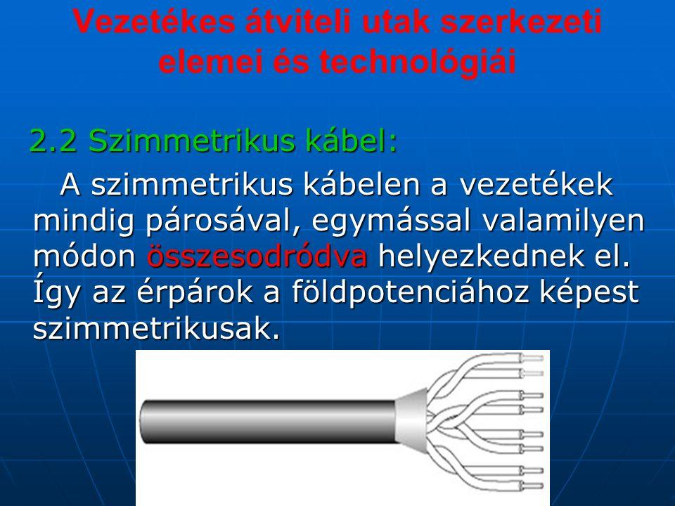 Vezetékes átviteli utak szerkezeti elemei és technológiái 2.2 Szimmetrikus kábel: 2.2 Szimmetrikus kábel: A szimmetrikus kábelen a vezetékek mindig párosával, egymással valamilyen módon összesodródva helyezkednek el.