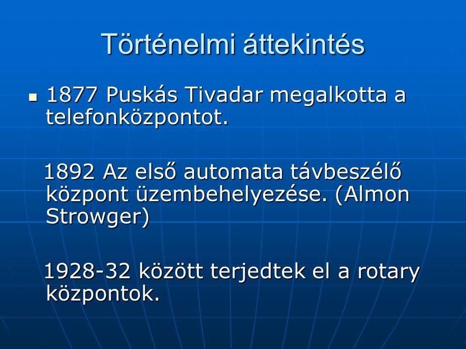 Történelmi áttekintés 1877 Puskás Tivadar megalkotta a telefonközpontot.
