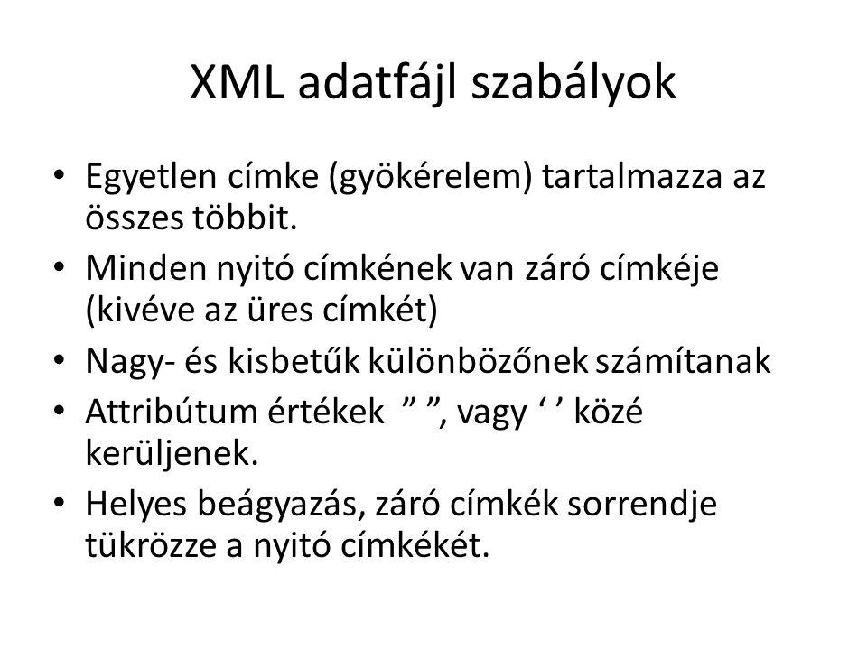 XML adatfájl szabályok Egyetlen címke (gyökérelem) tartalmazza az összes többit.
