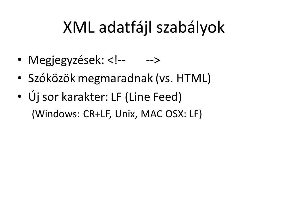 XML adatfájl szabályok Megjegyzések: Szóközök megmaradnak (vs.