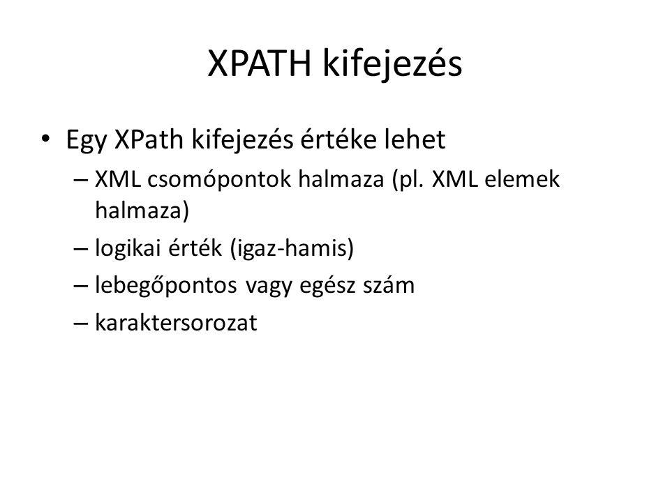 XPATH kifejezés Egy XPath kifejezés értéke lehet – XML csomópontok halmaza (pl.