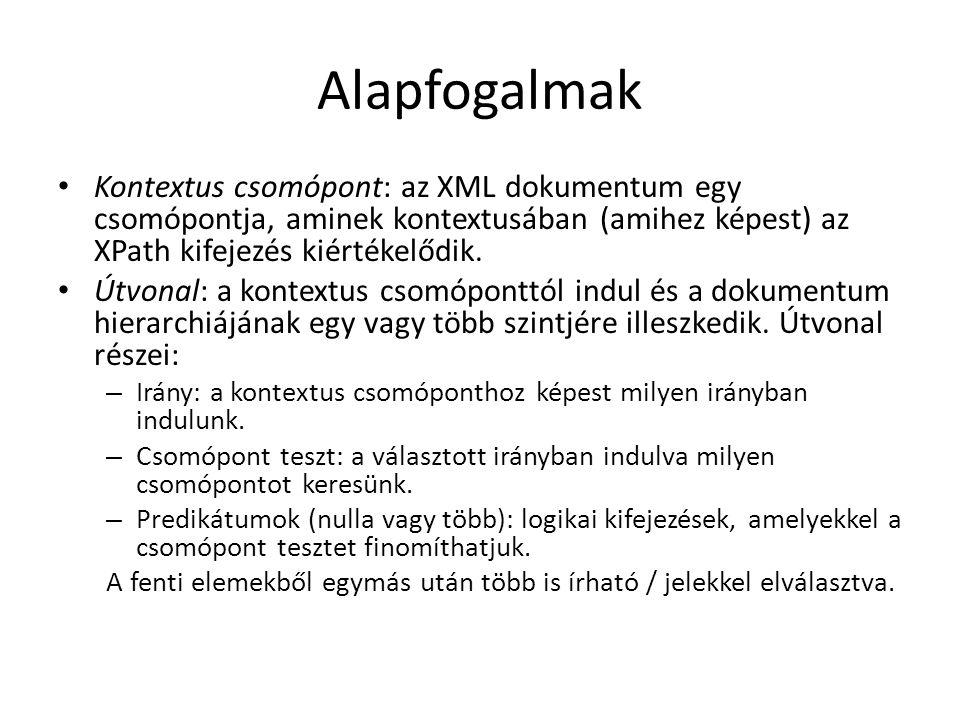 Alapfogalmak Kontextus csomópont: az XML dokumentum egy csomópontja, aminek kontextusában (amihez képest) az XPath kifejezés kiértékelődik.