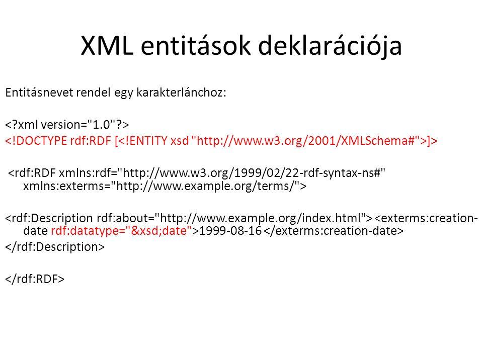 XML entitások deklarációja Entitásnevet rendel egy karakterlánchoz: ]> 1999-08-16