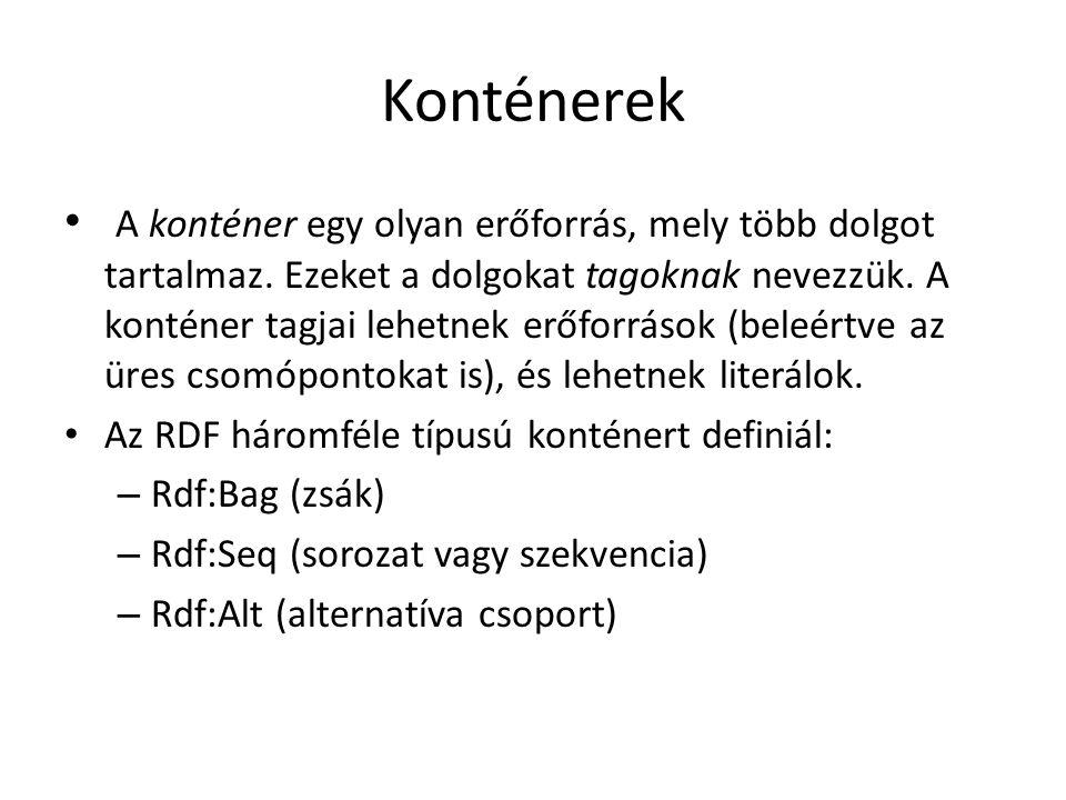 Konténerek A konténer egy olyan erőforrás, mely több dolgot tartalmaz.
