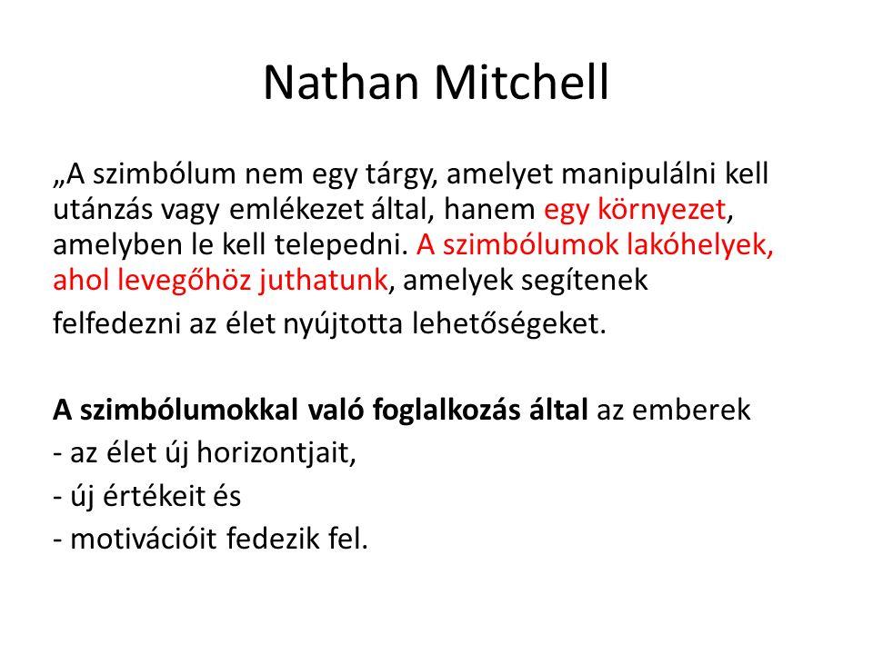 """Nathan Mitchell """"A szimbólum nem egy tárgy, amelyet manipulálni kell utánzás vagy emlékezet által, hanem egy környezet, amelyben le kell telepedni. A"""