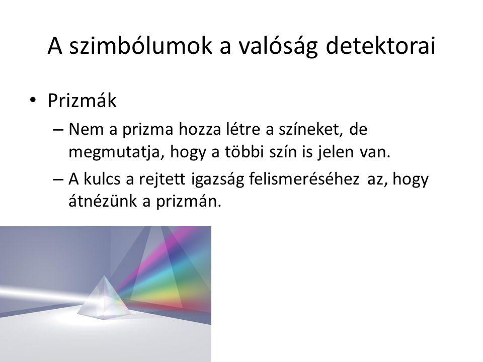 A szimbólumok a valóság detektorai Prizmák – Nem a prizma hozza létre a színeket, de megmutatja, hogy a többi szín is jelen van. – A kulcs a rejtett i