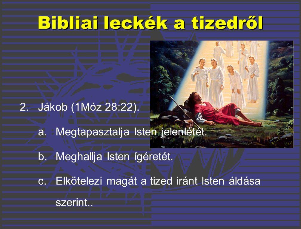 Bibliai leckék a tizedről 2. Jákob (1Móz 28:22). a.