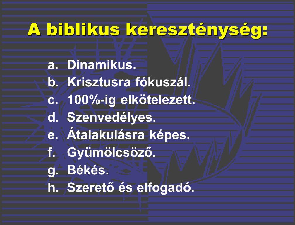 A biblikus kereszténység: a.Dinamikus. b.Krisztusra fókuszál.