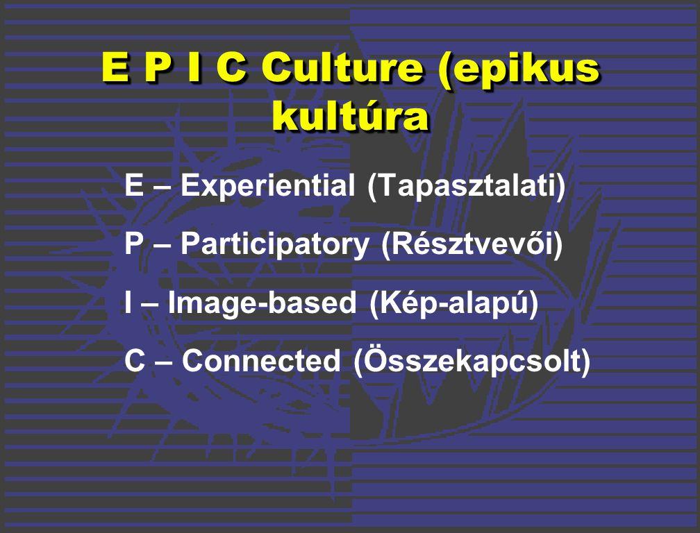 E P I C Culture (epikus kultúra E – Experiential (Tapasztalati) P – Participatory (Résztvevői) I – Image-based (Kép-alapú) C – Connected (Összekapcsolt)