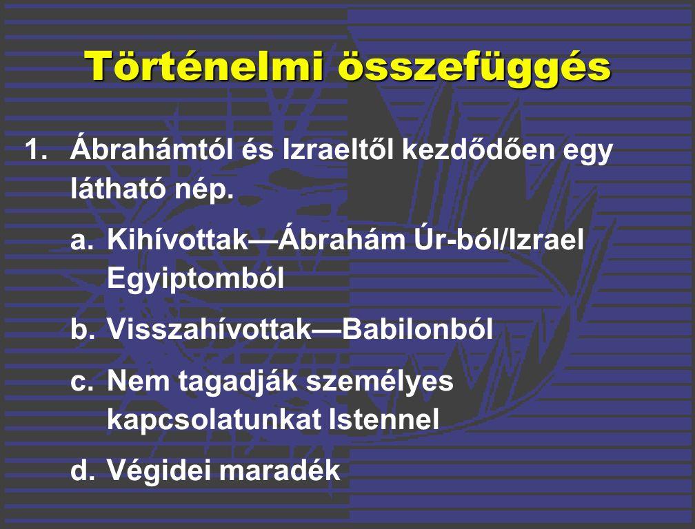Történelmi összefüggés 1.Ábrahámtól és Izraeltől kezdődően egy látható nép.