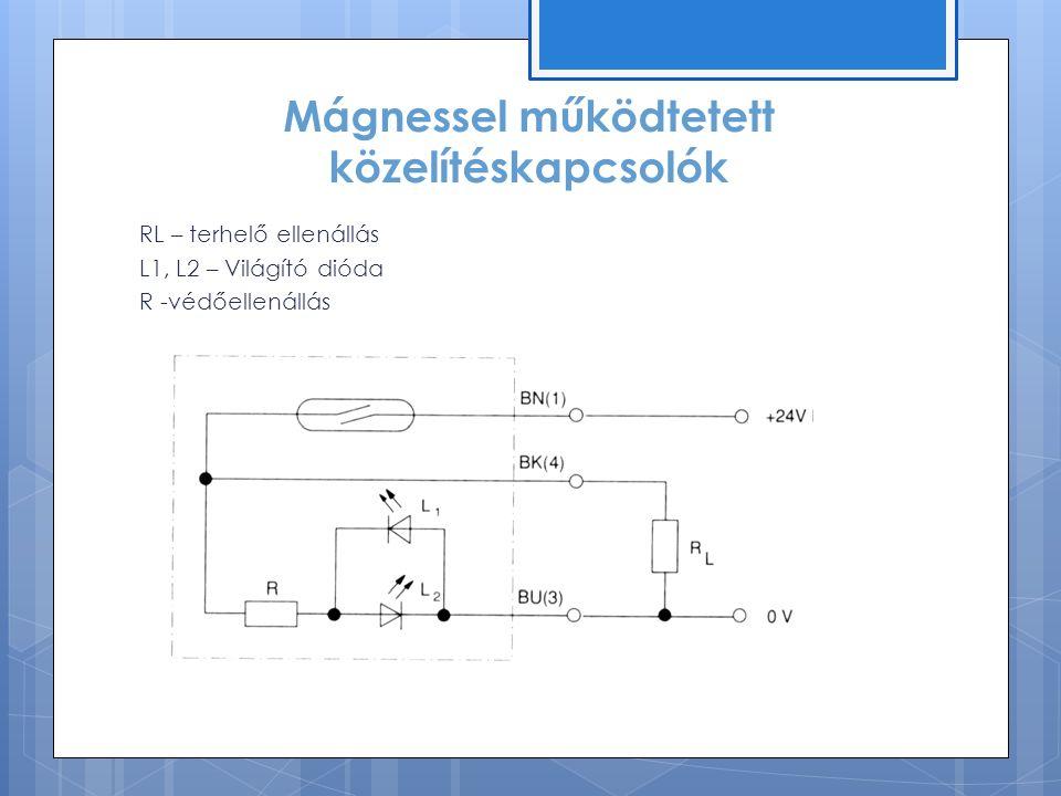 Mágnessel működtetett közelítéskapcsolók RL – terhelő ellenállás L1, L2 – Világító dióda R -védőellenállás