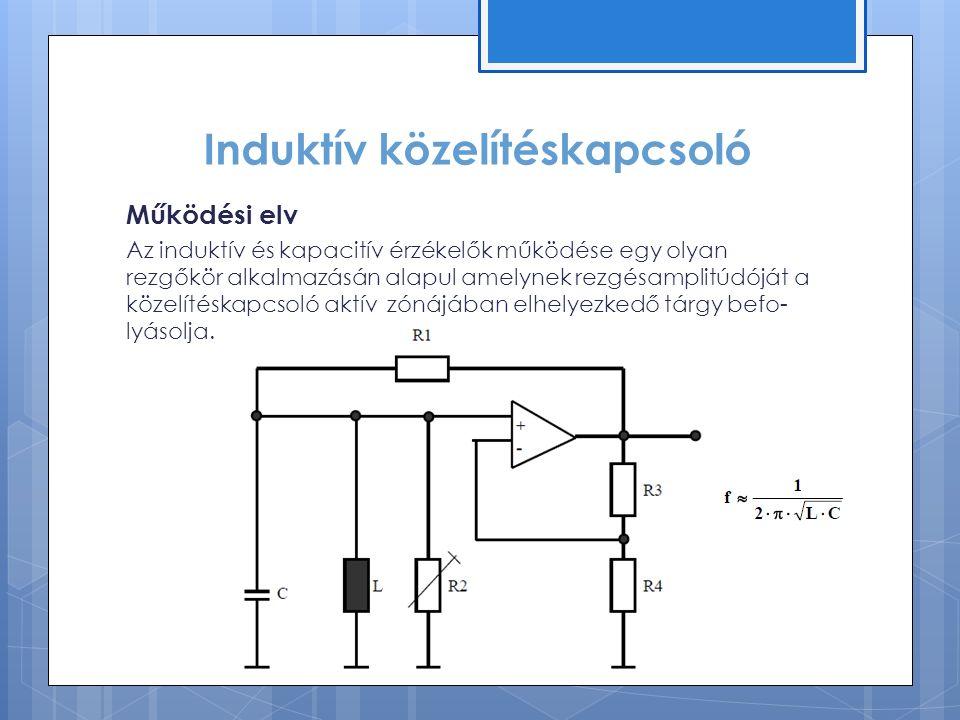 Induktív közelítéskapcsoló Működési elv Az induktív és kapacitív érzékelők működése egy olyan rezgőkör alkalmazásán alapul amelynek rezgésamplitúdóját a közelítéskapcsoló aktív zónájában elhelyezkedő tárgy befo- lyásolja.
