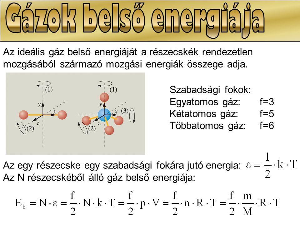 41/1 Mekkora a belső energiája 1 molnyi normál állapotú egyatomos, illetve kétatomos gáznak.