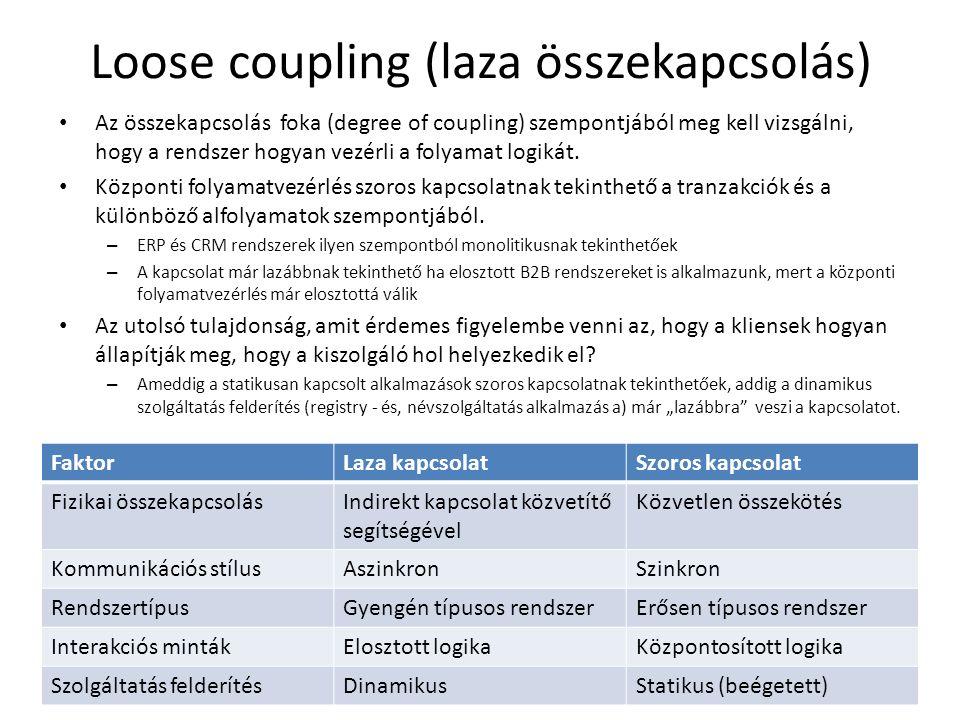 Loose coupling (laza összekapcsolás) Az összekapcsolás foka (degree of coupling) szempontjából meg kell vizsgálni, hogy a rendszer hogyan vezérli a folyamat logikát.