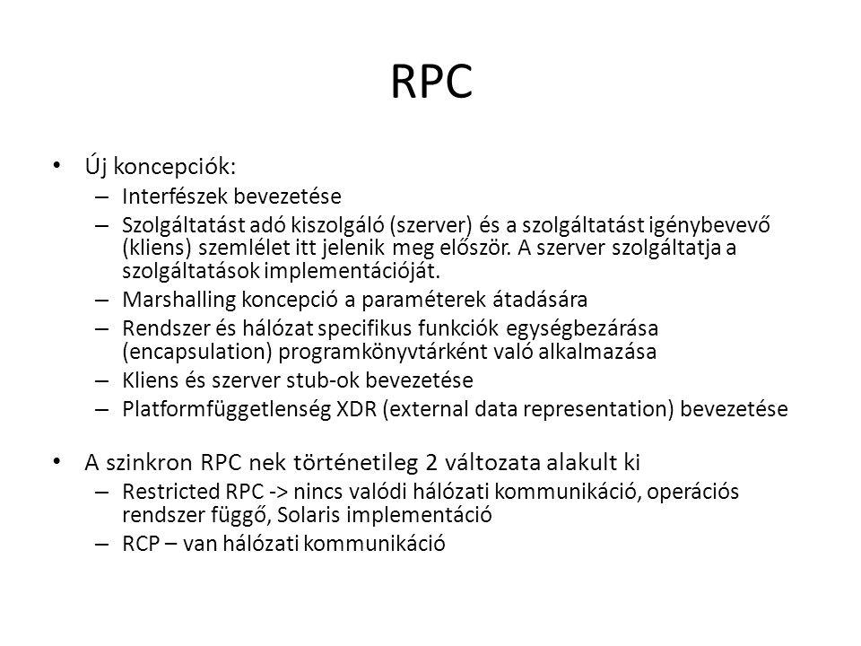 RPC Új koncepciók: – Interfészek bevezetése – Szolgáltatást adó kiszolgáló (szerver) és a szolgáltatást igénybevevő (kliens) szemlélet itt jelenik meg először.