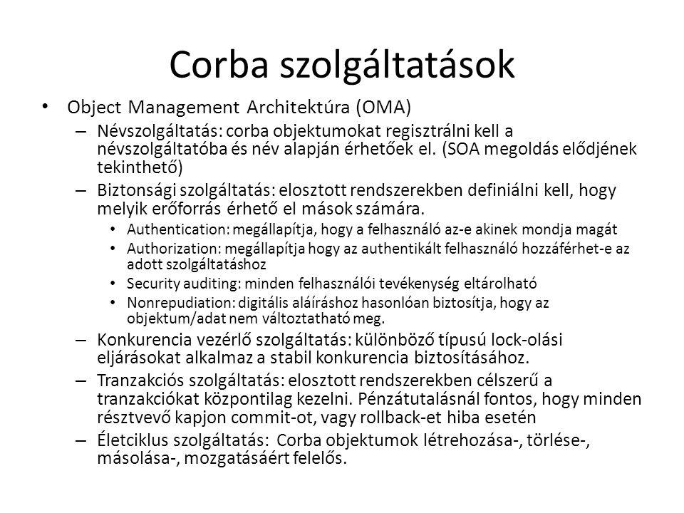 Corba szolgáltatások Object Management Architektúra (OMA) – Névszolgáltatás: corba objektumokat regisztrálni kell a névszolgáltatóba és név alapján érhetőek el.