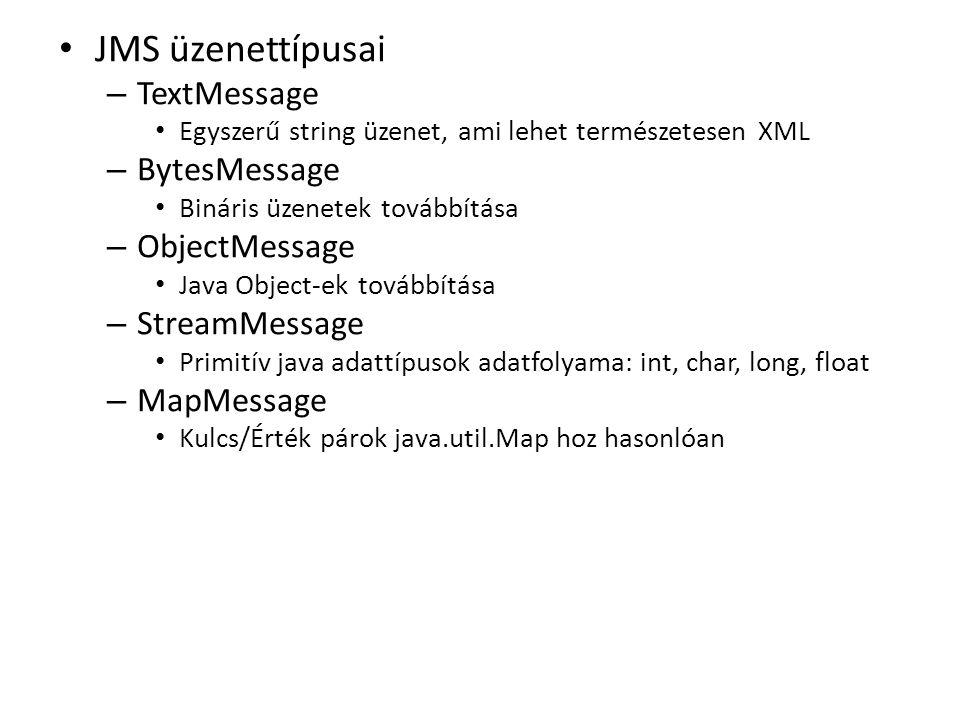 JMS üzenettípusai – TextMessage Egyszerű string üzenet, ami lehet természetesen XML – BytesMessage Bináris üzenetek továbbítása – ObjectMessage Java Object-ek továbbítása – StreamMessage Primitív java adattípusok adatfolyama: int, char, long, float – MapMessage Kulcs/Érték párok java.util.Map hoz hasonlóan