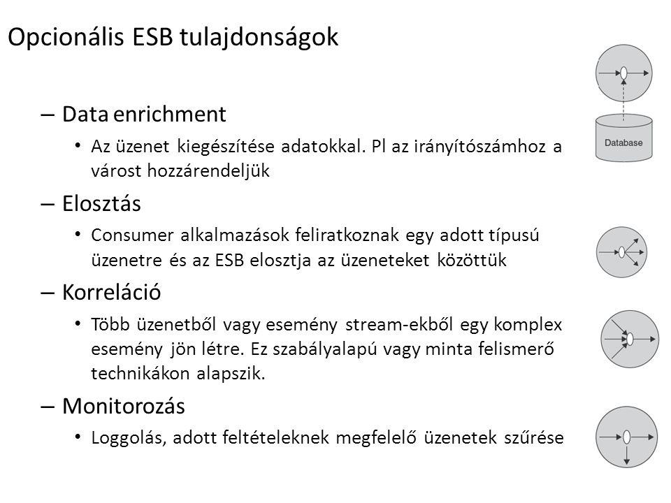 Opcionális ESB tulajdonságok – Data enrichment Az üzenet kiegészítése adatokkal.