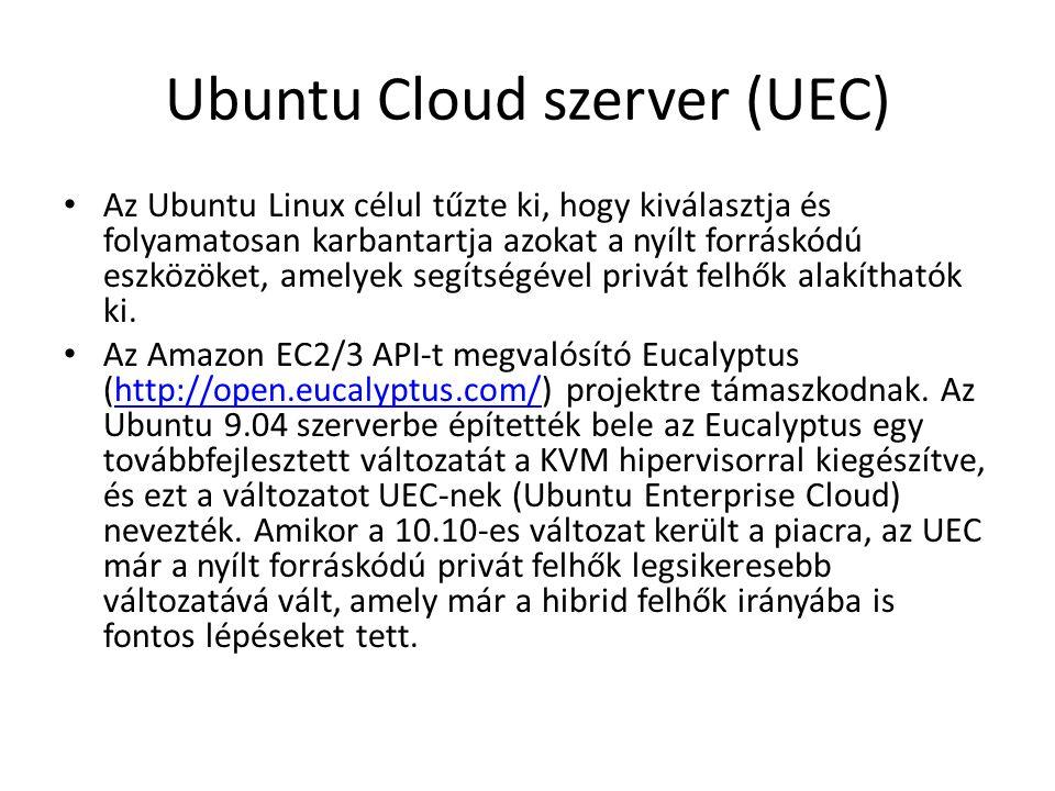 Ubuntu Cloud szerver (UEC) Az Ubuntu Linux célul tűzte ki, hogy kiválasztja és folyamatosan karbantartja azokat a nyílt forráskódú eszközöket, amelyek segítségével privát felhők alakíthatók ki.