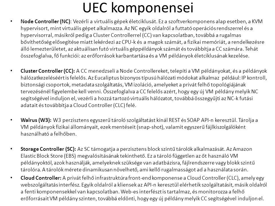 UEC komponensei Node Controller (NC): Vezérli a virtuális gépek életciklusát.