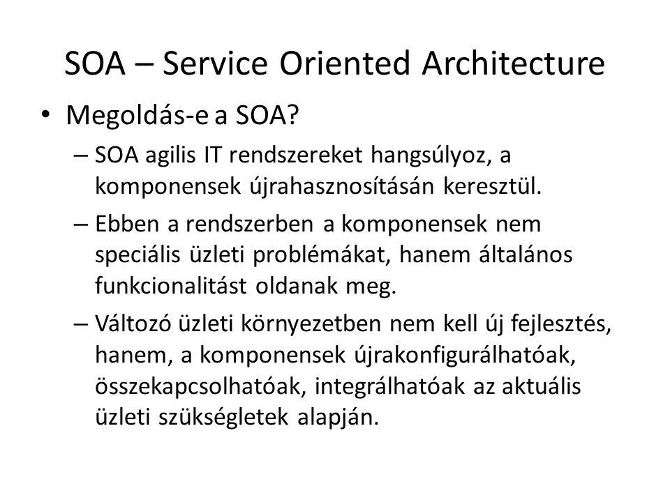 SOA – Service Oriented Architecture Megoldás-e a SOA.