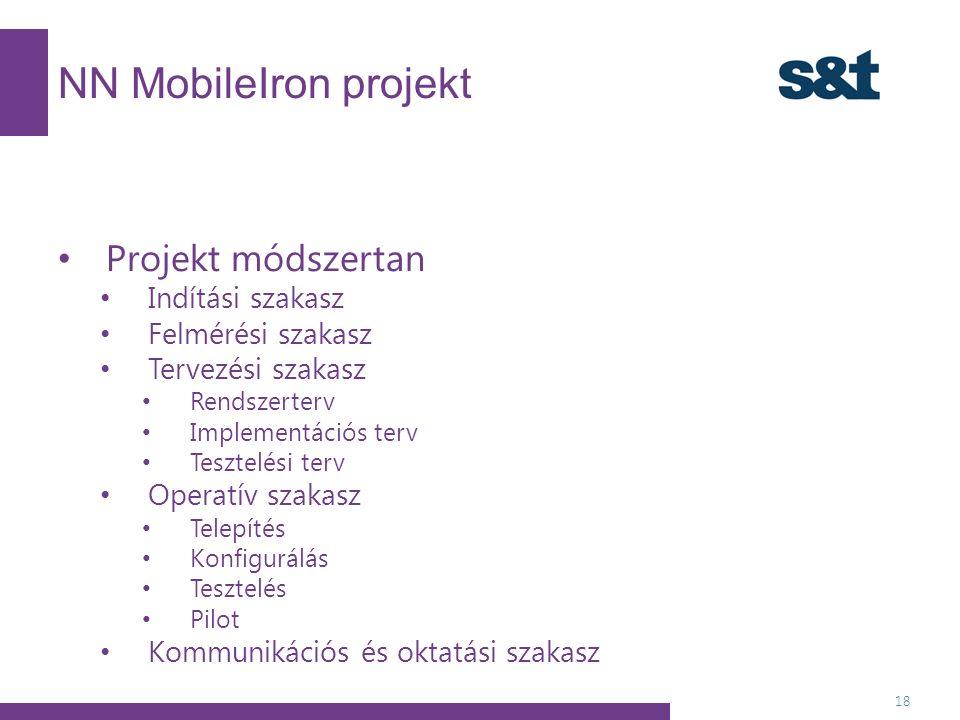 NN MobileIron projekt 18 Projekt módszertan Indítási szakasz Felmérési szakasz Tervezési szakasz Rendszerterv Implementációs terv Tesztelési terv Operatív szakasz Telepítés Konfigurálás Tesztelés Pilot Kommunikációs és oktatási szakasz