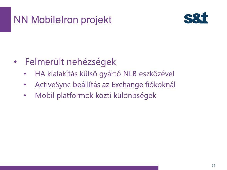 NN MobileIron projekt 19 Felmerült nehézségek HA kialakítás külső gyártó NLB eszközével ActiveSync beállítás az Exchange fiókoknál Mobil platformok közti különbségek