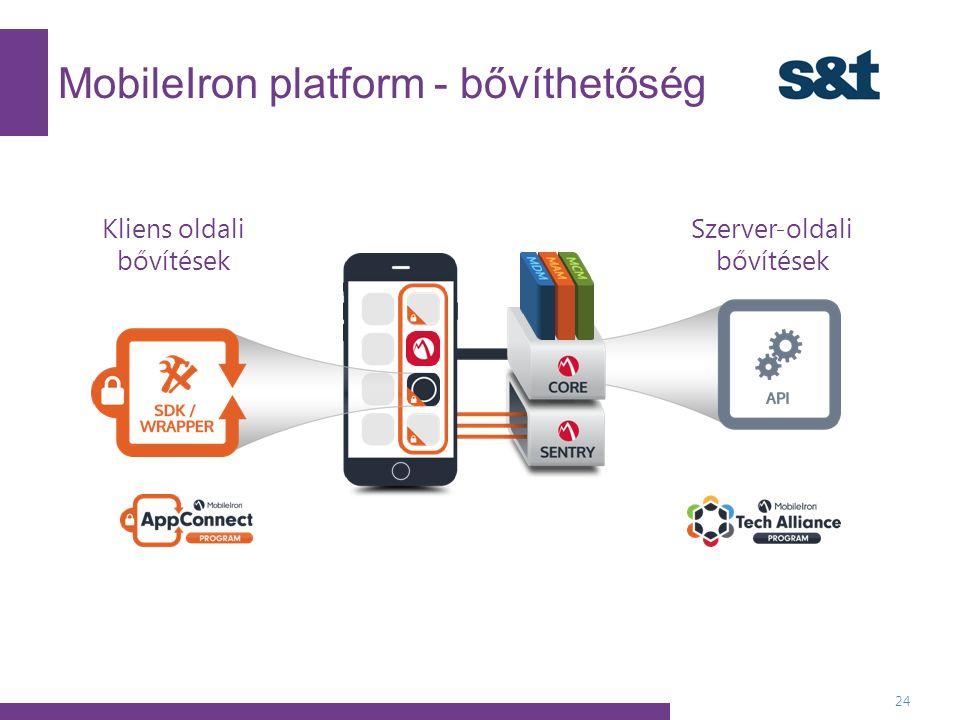 MobileIron platform - bővíthetőség 24 Szerver-oldali bővítések Kliens oldali bővítések