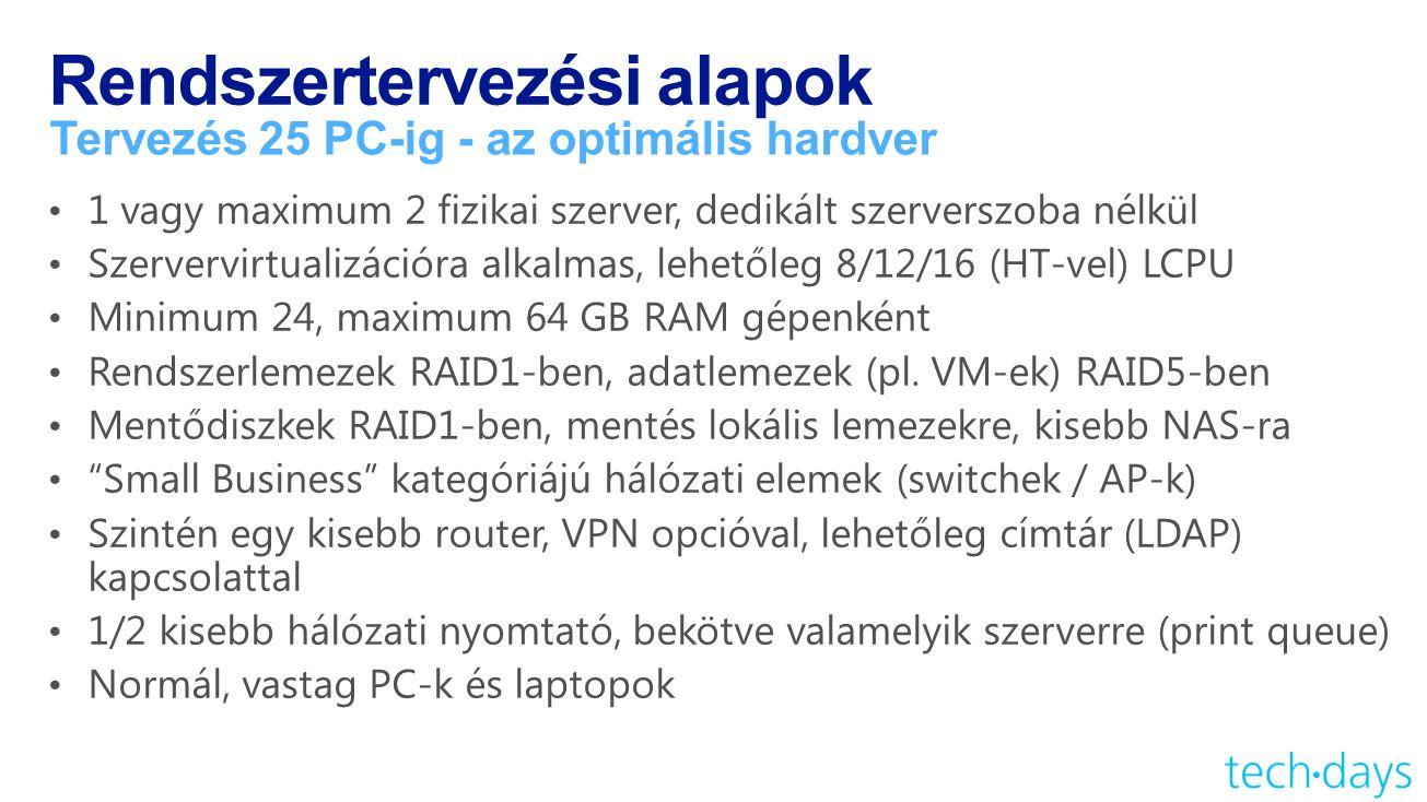 Rendszertervezési alapok Tervezés 25 PC-ig - az optimális hardver