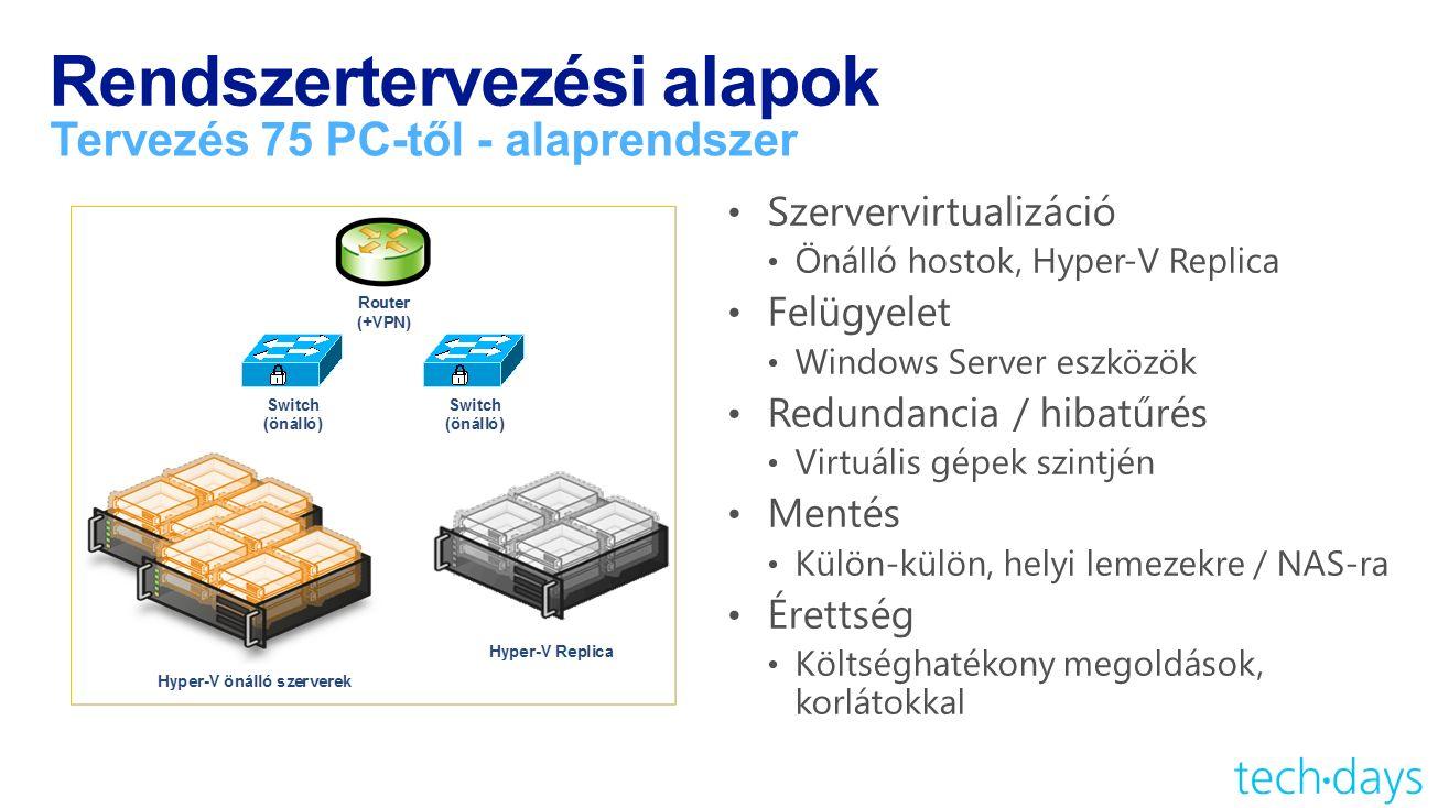 Rendszertervezési alapok Tervezés 75 PC-től - alaprendszer