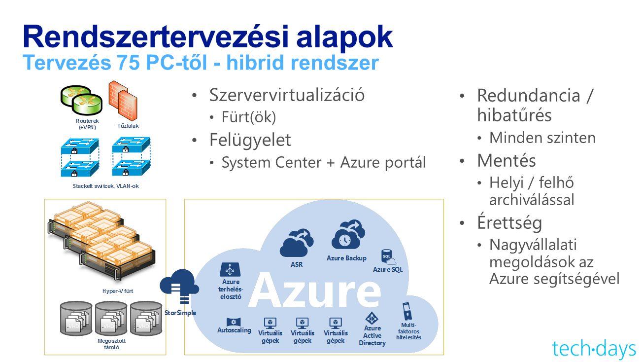 Rendszertervezési alapok Tervezés 75 PC-től - hibrid rendszer