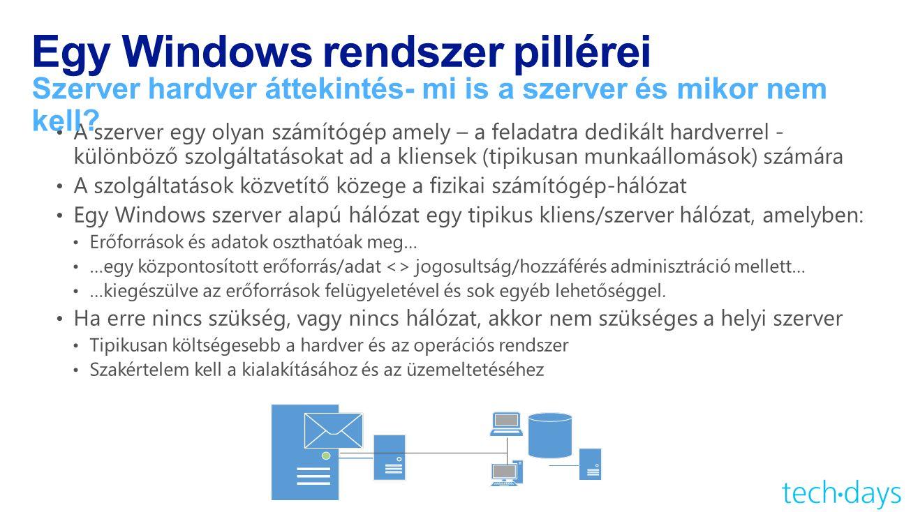 Egy Windows rendszer pillérei Szerver hardver áttekintés- mi is a szerver és mikor nem kell
