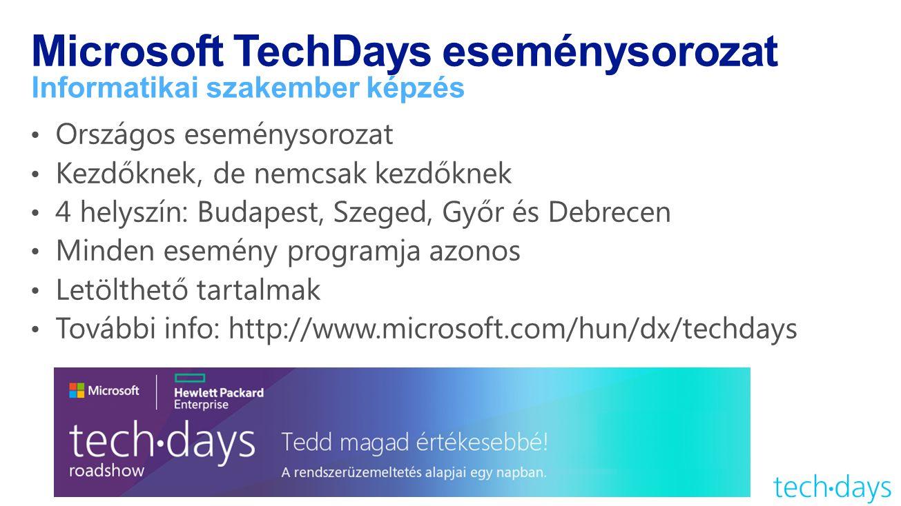 Microsoft TechDays eseménysorozat Informatikai szakember képzés