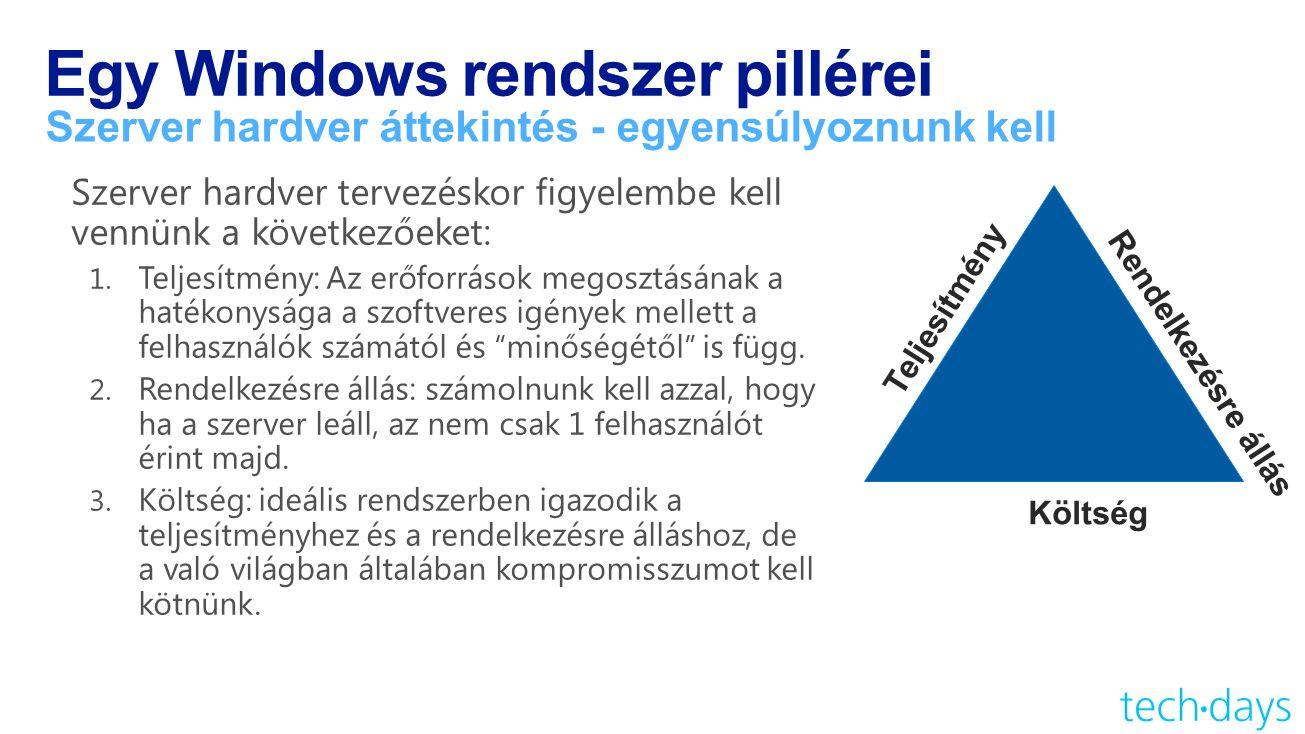 Egy Windows rendszer pillérei Szerver hardver áttekintés - egyensúlyoznunk kell Teljesítmény Költség Rendelkezésre állás