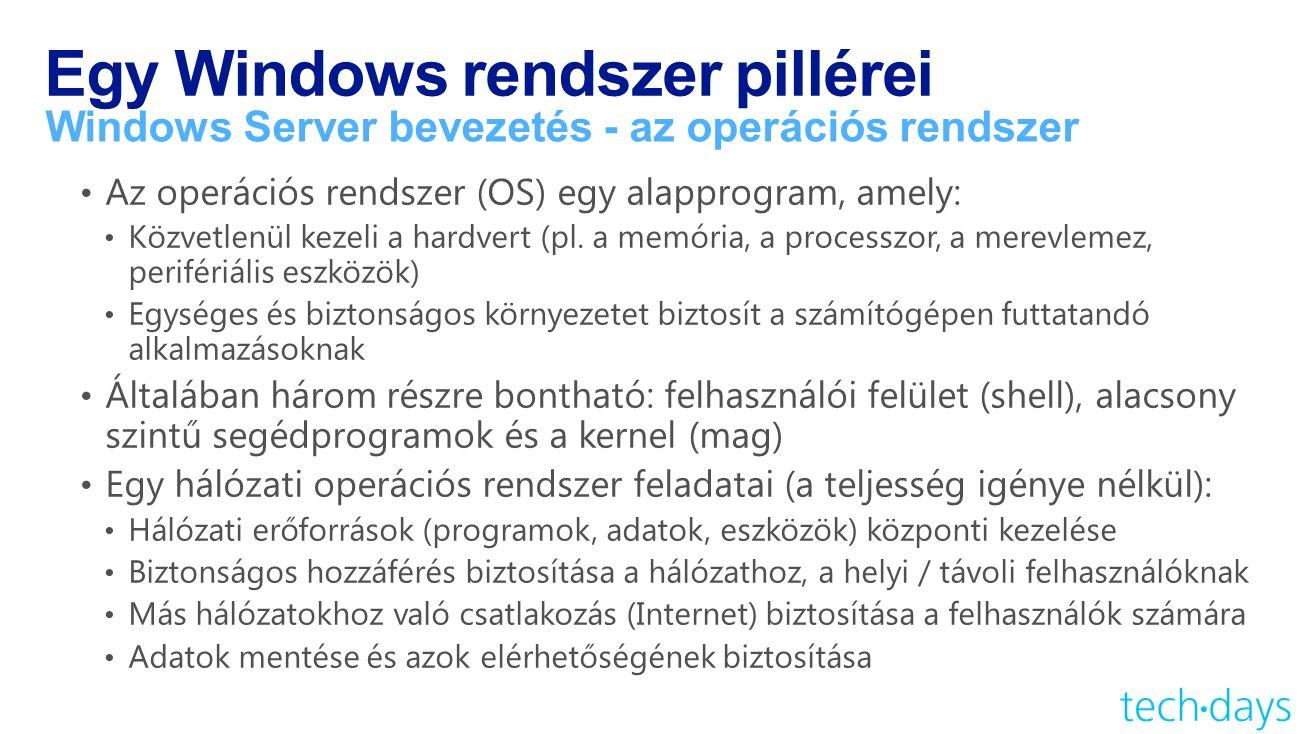 Egy Windows rendszer pillérei Windows Server bevezetés - az operációs rendszer