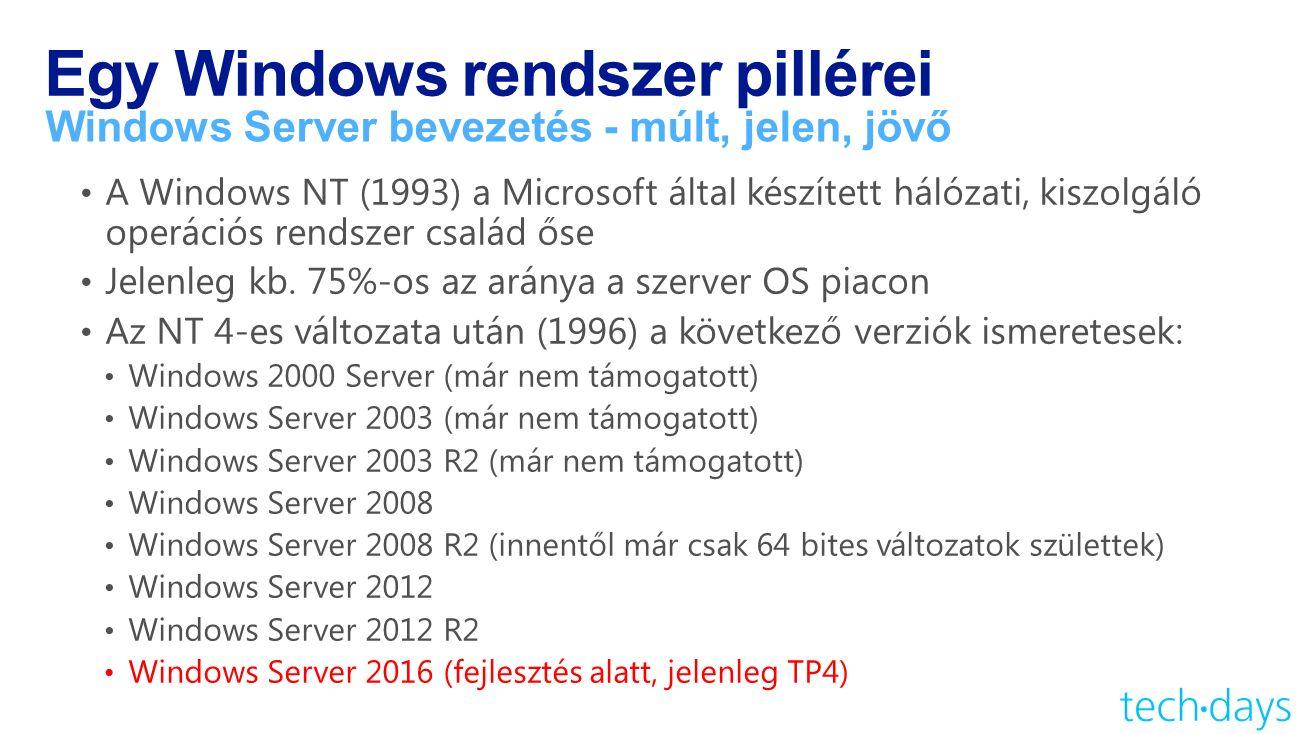Egy Windows rendszer pillérei Windows Server bevezetés - múlt, jelen, jövő