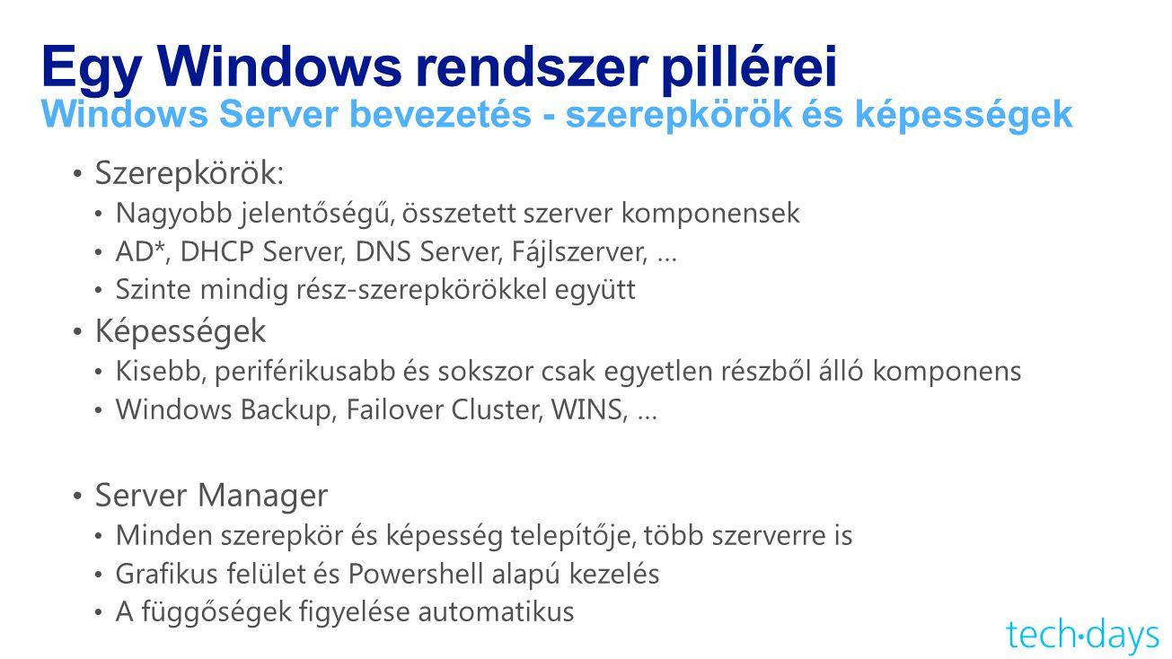 Egy Windows rendszer pillérei Windows Server bevezetés - szerepkörök és képességek