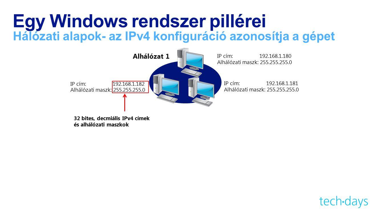 Egy Windows rendszer pillérei Hálózati alapok- az IPv4 konfiguráció azonosítja a gépet Alhálózat 1 32 bites, decmiális IPv4 címek és alhálózati maszkok IP cím: 192.168.1.181 Alhálózati maszk: 255.255.255.0 IP cím: 192.168.1.180 Alhálózati maszk: 255.255.255.0 IP cím: 192.168.1.182 Alhálózati maszk: 255.255.255.0