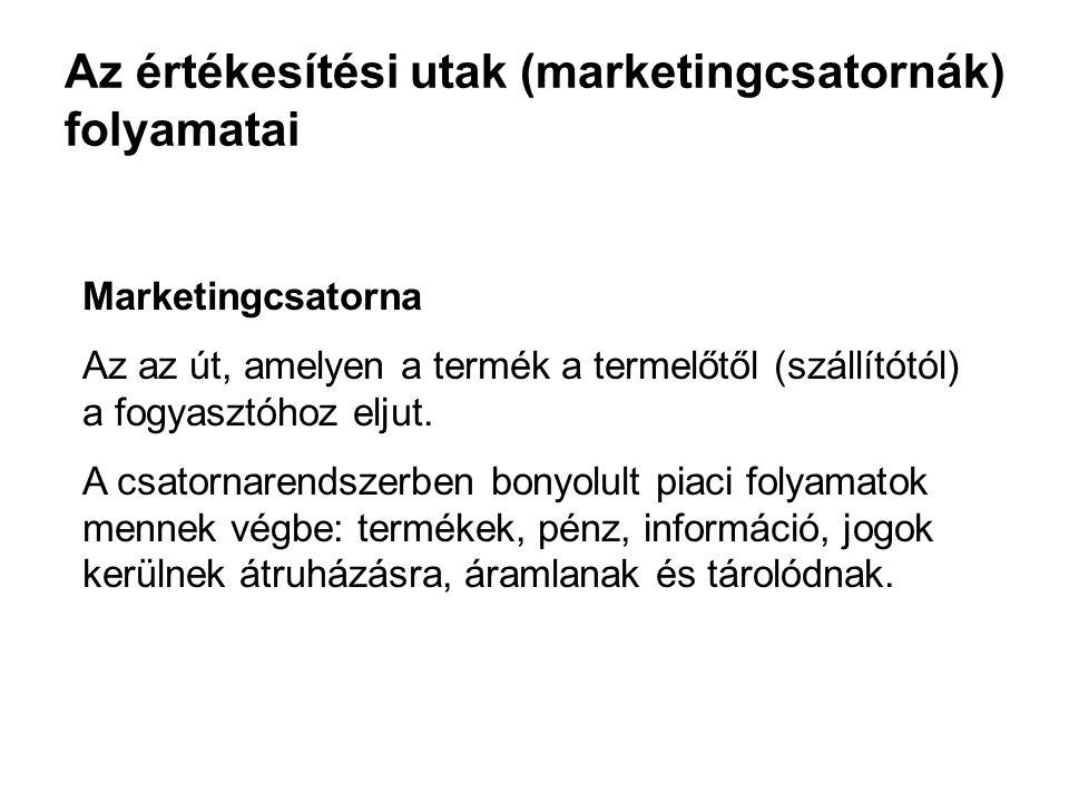 Az értékesítési utak (marketingcsatornák) folyamatai Marketingcsatorna Az az út, amelyen a termék a termelőtől (szállítótól) a fogyasztóhoz eljut. A c