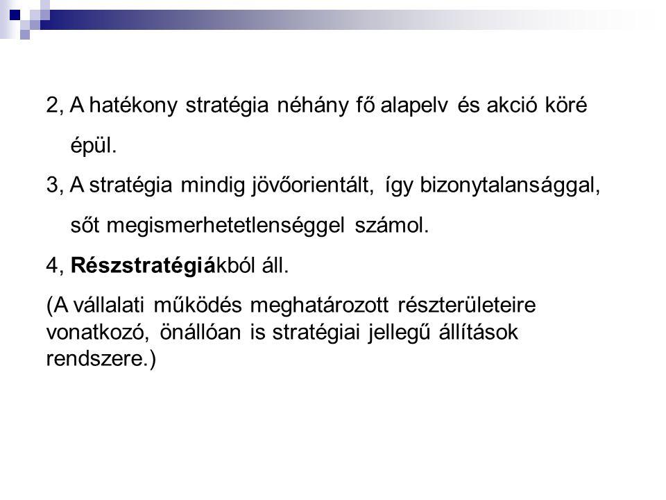 2, A hatékony stratégia néhány fő alapelv és akció köré épül. 3, A stratégia mindig jövőorientált, így bizonytalansággal, sőt megismerhetetlenséggel s