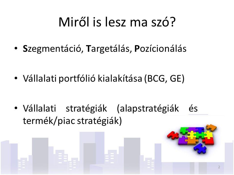 Az Ansoff-mátrix (termék/piac stratégiák) Jelenlegi termékÚj termék Jelenlegi piac A piackiaknázás stratégiája - növelni a piaci részarányt - növelni a használat gyakoriságát - új alkalmazásokat bevezetni A termékfejlesztés stratégiája - tökéletesíteni a terméket - új terméket kifejleszteni ugyanarra a piacra - a termékvonal kiterjesztése Új piac A piacfejlesztés stratégiája - földrajzi terjeszkedés - új piaci szegmens meghódítása A diverzifikáció stratégiája - az eddigi tevékenységhez kapcsolódó diverzifikáció - az eddigi tevékenységhez nem kapcsolódó diverzifikáció 43
