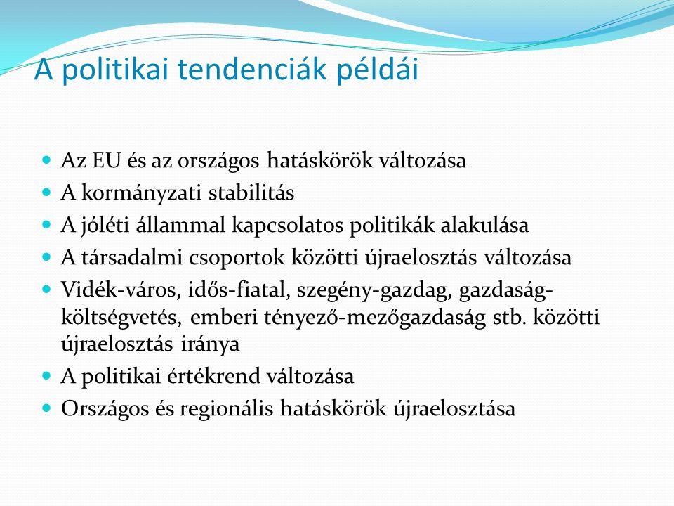 A politikai tendenciák példái Az EU és az országos hatáskörök változása A kormányzati stabilitás A jóléti állammal kapcsolatos politikák alakulása A t