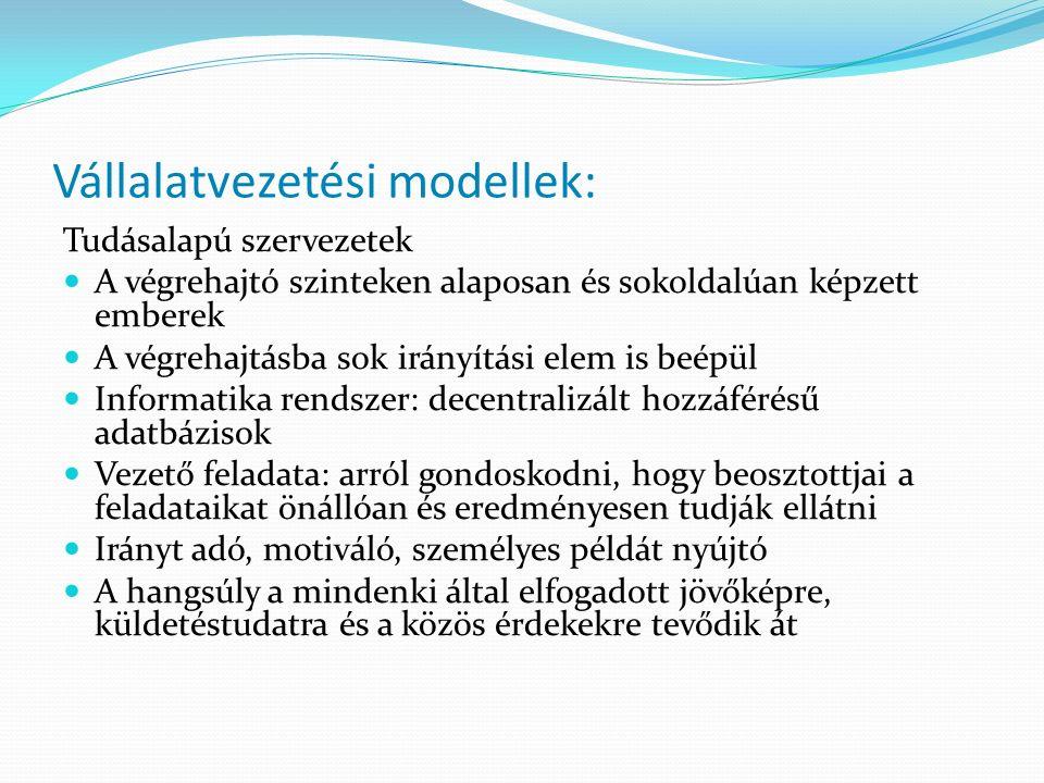 Vállalatvezetési modellek: Tudásalapú szervezetek A végrehajtó szinteken alaposan és sokoldalúan képzett emberek A végrehajtásba sok irányítási elem i