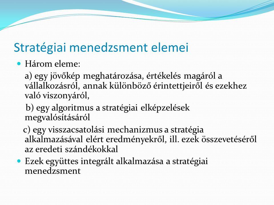 Stratégiai menedzsment elemei Három eleme: a) egy jövőkép meghatározása, értékelés magáról a vállalkozásról, annak különböző érintettjeiről és ezekhez