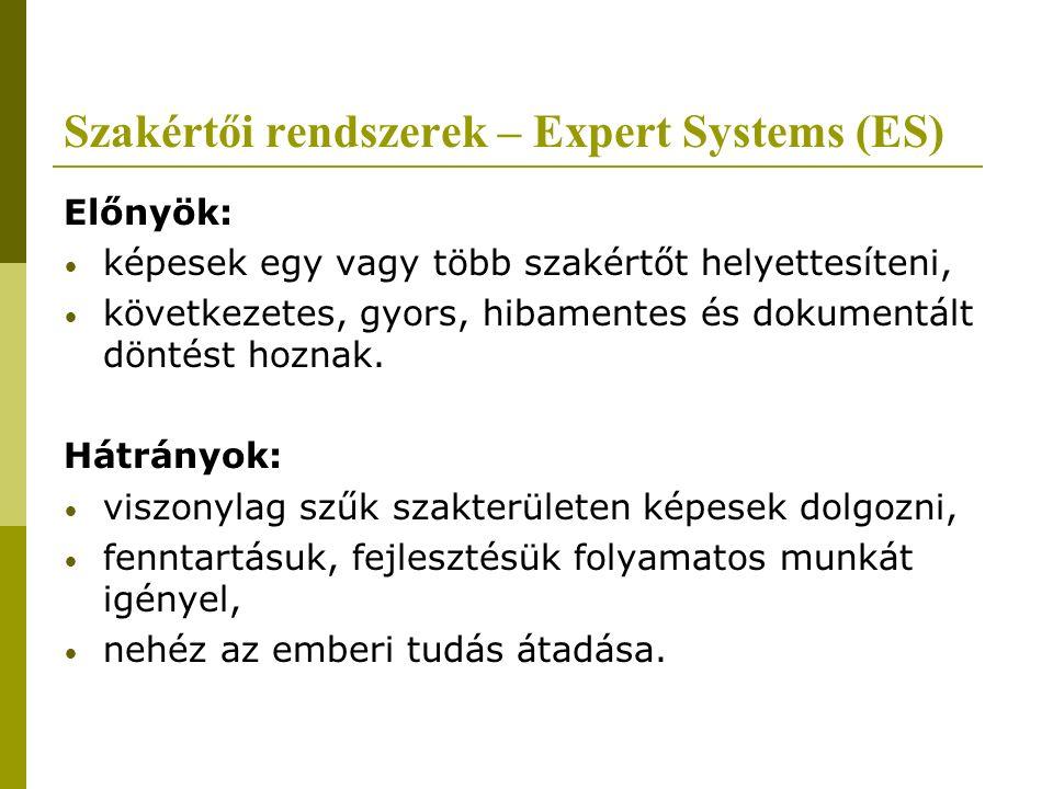 Szakértői rendszerek – Expert Systems (ES) Előnyök: képesek egy vagy több szakértőt helyettesíteni, következetes, gyors, hibamentes és dokumentált döntést hoznak.