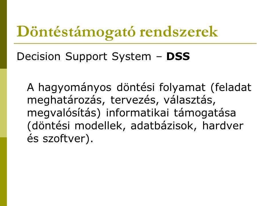Döntéstámogató rendszerek Decision Support System – DSS A hagyományos döntési folyamat (feladat meghatározás, tervezés, választás, megvalósítás) informatikai támogatása (döntési modellek, adatbázisok, hardver és szoftver).