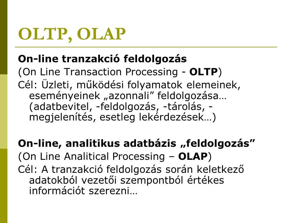 """OLTP, OLAP On-line tranzakció feldolgozás (On Line Transaction Processing - OLTP) Cél: Üzleti, működési folyamatok elemeinek, eseményeinek """"azonnali feldolgozása… (adatbevitel, -feldolgozás, -tárolás, - megjelenítés, esetleg lekérdezések…) On-line, analitikus adatbázis """"feldolgozás (On Line Analitical Processing – OLAP) Cél: A tranzakció feldolgozás során keletkező adatokból vezetői szempontból értékes információt szerezni…"""